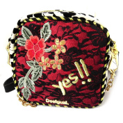 'french touch' bag 'Desigual'red black lace golden (+ metal gift box).