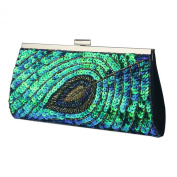 Green Peacock and Feather Design Sequin Evening Clutch Bag - Wedding Party Designer Bags