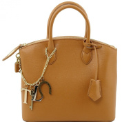 Tuscany Leather Tote-TL-KeyLuck Saffiano-Small size-Cognac
