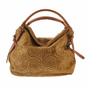 CTM Woman's elegant handbag, tote bag in italian genuine suede leather made in Italy with geometric patterns 40x30x15 Cm
