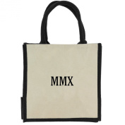 Jute Shopping Bag with Black Handles, Trim, and 2010 Roman Numerals in Black Print