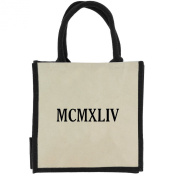 Jute Shopping Bag with Black Handles, Trim, and 1944 Roman Numerals in Black Print