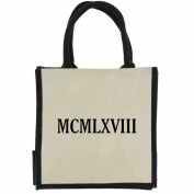 Jute Shopping Bag with Black Handles, Trim, and 1968 Roman Numerals in Black Print