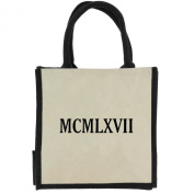 Jute Shopping Bag with Black Handles, Trim, and 1967 Roman Numerals in Black Print