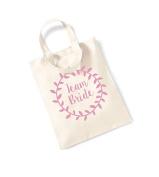 Small Tote Bag 'Team Bride' Laurel Wreath Design - Canvas Slogan Mini Tote Treat Hen Party/Bridal Shower/Wedding Bag