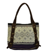 Tai Lu and Hmong Hill Tribe Handbag Tote - Handcrafted Ethnic Boho Tote Style Bag from Traditionally Handwoven Textiles