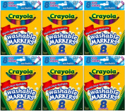 Crayola Washable Bold Colours Broad Line 8 in a Box (Pack of 6) 48 Markers Total