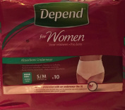 THREE PACKS of Depend For Women Absorbent Underwear Super Small/Medium 10 Pants