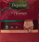 THREE PACKS of Depend For Women Absorbent Underwear Super XL 9 Pants
