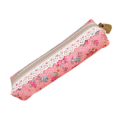 Retro Flower Floral Lace Pencil Pen Case Cosmetic Makeup Bag Zipper Pouch Purse