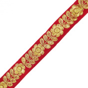Embroidered Red Ribbon Home Decorative Craft Supply 3.0 Cm Wide Sari Ribbon By 1 Yard