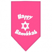Mirage Pet Products Happy Hanukkah Screen Print Bandana for Pets, Large, Bright Pink