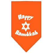 Mirage Pet Products Happy Hanukkah Screen Print Bandana for Pets, Small, Orange