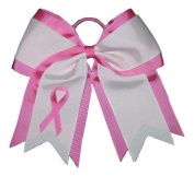 "NEW ""BREAST CANCER Ribbon"" Cheer Hair Bow Pony Tail 7.6cm Girls Cheerleading Practise Games School Uniform Hairbow Awareness Event"