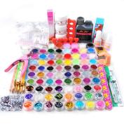 Coscelia Full Acrylic Powder Liquid Clipper Primer Glitter Nail Art Tip Brush UV Kits 78 Colour