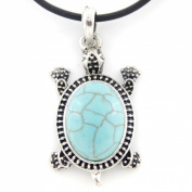 Vintage Feel Silver Tone Turquoise Stone Turtle Pendant Necklace