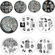 BornPretty 10 Pcs BP51-60 Nail Art Stamping Plate Stamp Template Image Plates