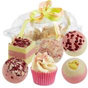 "BRUBAKER 6 Handmade ""Sweet Berries"" Spa Bath Bombs Fizzies Gift Set - All Natural Vegan, Organic Shea Butter, Cocoa Butter and Olive Oil Moisturise Dry Skin"