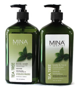 Mina Organics Tea Tree Body Wash - Body & Face Moisturiser Set, 530ml Each