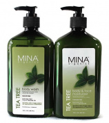 Mina Organics Tea Tree Body Wash - Body & Face Moisturiser Set, 530ml Each