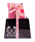 Morocco Argan Oil Moroccan Rose Toccata Bath Spa Gift Set - Shower Gel, Hand Cream, Bath Crystals, Body Lotion, Scoop, in a Velour Covered Gift Box