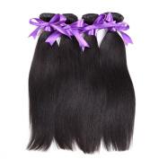BHF Hair Brazilian Straight Hair 3 Bundles (100ml/bundle) Remy Human Hair Extensions Natural Black Hair Colour Full Head