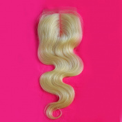 1 Piece Body Wave Swiss Lace Closure (4*4) Middle Part Blonde Lace Closure 100% Real Human Hair Colour #613