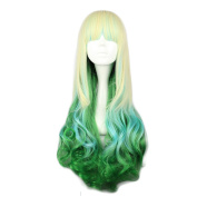 Mcoser 80cm Blond Green Mixed Long Curly Lolita Synthetic Wig