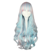 Mcoser 70cm Pink Blue Mixed Colour Long Curly Lolita Synthetic Wig