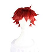 Yowamushi Pedal Naruko Shokichi Cosplay Wig Wine Red Cosplay Short Convention Wigs 35cm