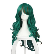 Makishima Yusuke Wavy Curly Highlights Cosplay Costume Party Wigs Green Brown Mixed 85cm/33.49inch