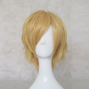 Kagamine Len VOCALOID Golden Short Cosplay Anime Costume Wig + Free Wig Cap