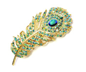 Faship Peacock Feather Hair Barrette Emerald Green AB Crystal