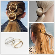 Heavy Metal Gold Silver Hollow Hoop Round Circle Geometric Metallic Hairpin Hair Clip Clamp Accessories French Barrette Bobby Pin Ponytail Holder Statement Steampunk Headwear Headdress Styling Jewellery