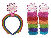 Rainbow Headbands (6) and Rainbow Hair Ties Scrunchies (12); 18 Pieces Total for Girls