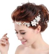 MERSUII Beautiful Elegant Bridal Hair Accessory White Pearl Clear Rhinestone