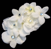 White Blossom Flower Hair Clip with Rhinestones