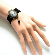 Lvxuan Charming Gothic Vintage Punk Enchantress Black Velvet Belt Beauty Head Bracelet with Pearl Pendant