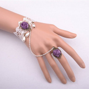 Lvxuan Purple Flower Rose Pearl White Lace Adjustable Ring to Bracelet SET Bridal Wedding Lolita Gothic Fashion Accessory