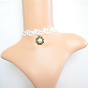 Lvxuan Elegant Gothic Vintage Palace Jewellery White Lace Round Pendant Pearl Collar Necklace