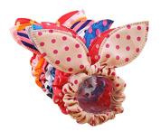 10 Pcs Assorted Colour Cute Chiffon Dot Rabbit Ear Hair Bow Head Tie Bands Ponytail Holder Hot for Girls Teen