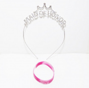 "Silver Tone Rhinestone ""Maid of Honour"" Headband Bridal PLUS FREE BRACELET"