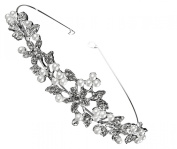 Wiipu Bridal Crown Pearl Crystal Rhinestone Flower Silver Headband