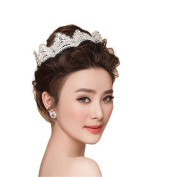 Wiipu Lace Rhinestone Crown Tiara Headwear Wedding Bridal Headband