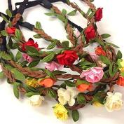 5 Pcs Women Lady Girl's Bohemian Boho Style Rose Flower Floral Crown Headband Garland Halo Hair Band For Festival Party Wedding - Random Colour