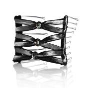 Hairzing Boho Artisan Glass Wide Eyelet- Black- Medium - The Patented Original