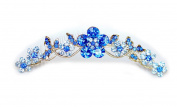 Faship Sapphire Colour Blue Hair Comb Crystal Floral