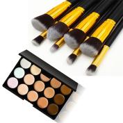 U-beauty New 15 Colours Contour Face Cream Makeup Concealer Palette +8PCS Black and Golden Makeup Brushes Set