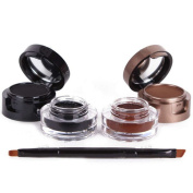 XX Shop 4 in 1 Gel Eyeliner and Eyebrow Powder Water-proof Eye Makeup Cosmetic Set with brush