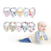 Gemini Fairy Baby Bandana Drool Bibs, Unisex 10-pack Absorbent Cotton, Lovely Baby Gift for Boys & Girls